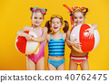 funny funny happy children  jumping in swimsuit  40762475