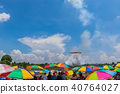Crowd under the colorful of the umbrella waiting f 40764027