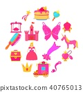 Princess accessories icons set, cartoon style 40765013