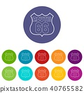 Route 66 shield icons set vector color 40765582