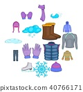 Winter clothes icons set, cartoon style 40766171