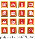 Bag baggage suitcase icons set red square vector 40766342
