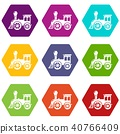 Old train icons set 9 vector 40766409