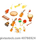 Musical instruments icons set, isometric style 40766924