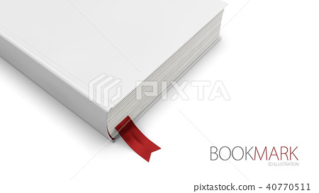Bookmark in a book isolated on white 40770511