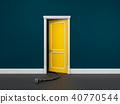 Opened door in a blue room with power pin 40770544