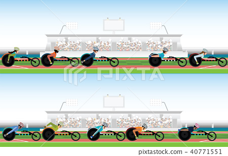 Competition wheelchair in motion at the stadium. 40771551