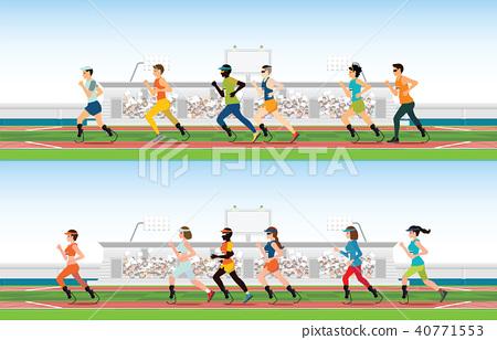 Handicapped sprinter with prosthetic leg running 40771553