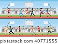 Marathon runner men and women on running track  40771555