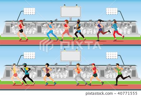 Marathon runner men and women on running track  40771555