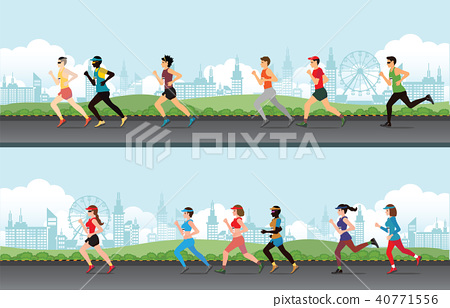 Marathon runner men and women on the street. 40771556