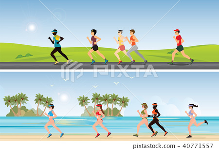 Marathon Runners compete on  beach and sunny day. 40771557