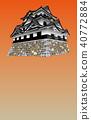 Japanese castle extant Tenshu Hikone Castle sunset back 40772884