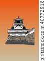 일본의 성 현존 천수각 치성 노을 백 40772918