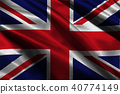 United Kingdom flag 3D illustration symbol.  40774149