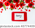 Sorry card with poppy flowers on white background 40774409