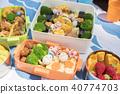 在手工製作的午餐盒上野餐 40774703