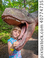 Little girls head in the mouth of a dinosaur 40774735