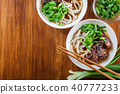 Japanese Udon noodles with beef 40777233