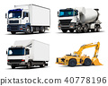 Set of industrial trucks and vehicles 40778196