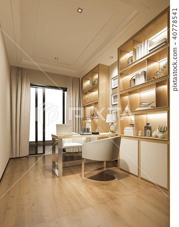 3d rendering modern wood luxury working room 40778541