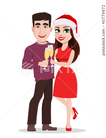 Smiling man and woman holding glasses of champagne 40779972