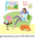 放鬆在沙發的婦女 40782445