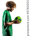 young teenager soccer player man silhouette isolated 40783055