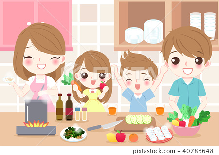 happy family cooking in kitchen 40783648