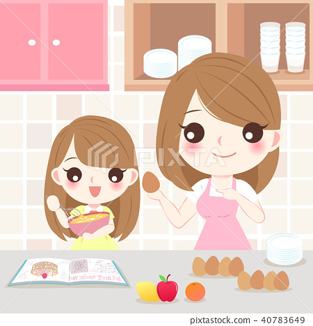 mother and daughter cooking 40783649