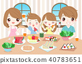 happy family eating food 40783651