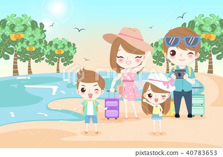 happy family on the beach 40783653