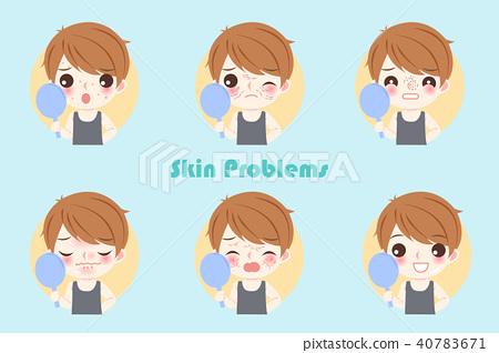 man with skin problem 40783671