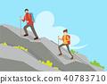 couple climbing mountain 40783710
