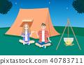 couple camping at night 40783711