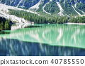 Braies lake landscape in summer 40785550
