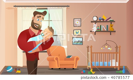 Father Holding Son at Home Interior Child Room 40785577