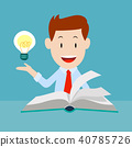 Happy businessman reading book with idea 40785726