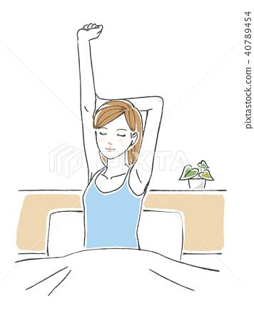 舒展在床上的婦女 40789454