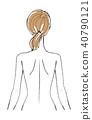 妇女后面例证马尾辫 40790121