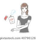 자외선 차단제를 바르는 여성 T 셔츠 40790126