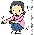 蹲坐 孩子 小孩 40792583