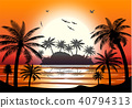 Silhouette of palm tree on beach. 40794313