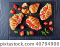 croissant sandwiches with fresh ripe strawberries 40794900