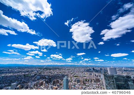 """""""도쿄도""""흰 구름과 푸른 하늘 도쿄 주택 이미지 40796046"""