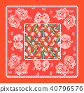 Bandana red silk scarf paisley vector design. 40796576