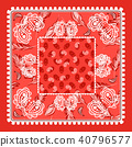 Bandana red paisley vector design. 40796577