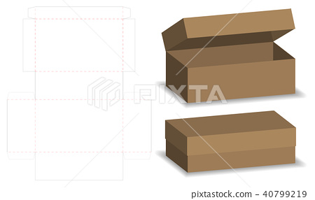 package box die cut with 3d mock up 40799219