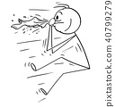 Cartoon of Man Blown by Sneeze or Nose Blow 40799279