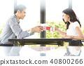 couple, cafeteria, cafe 40800266